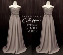 wedding photo - TDY Light taupe Chiffon Overlay Skirt for Maxi Long Convertible Dress / Infinity Dress / Wrap Dress / Bridesmaid Multiway Dress