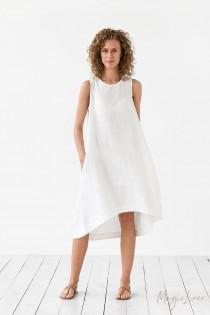 wedding photo - White linen dress TOSCANA. Asymmetrical, sleeveless, loose, knee-length linen summer dress. Women's clothing.