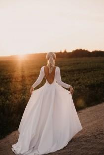 wedding photo - Royal open back wedding dress,long sleeve satin dress,boat neckline dress