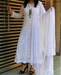 wedding photo - Lucknowi Chikankari Georgette Anarkali Kurta With stole Dupatta Kurta Chikan Beautiful Hand Embroidery Style Kurti Shirt Beach Wear Boho