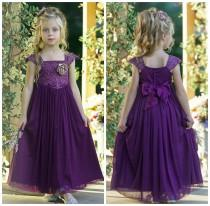 wedding photo - Eggplant Lace Flower girl dress, Tulle Rustic flower girl dress, Christmas dress, Flower girl dresses, Purple dress, baby girl lace dress