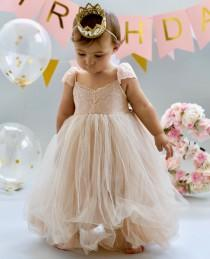 wedding photo - Dusty Coral Blush Flower Girl Dress Dresses Girls 1st Birthday Outfit Tulle Tutu Baby Infant Toddler Photoshoot Baby Shower Gown Newborn