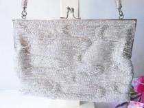 wedding photo - Vintage Silver Evening Bag, Sparkly Silver Beaded Handbag,  EB-0157