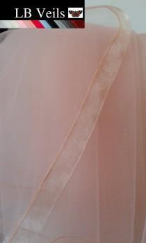 wedding photo - Blush, Pink, Ribbon, Edge, Veil, 2 Tier, Any, Colour, Wedding, Organza, Waist, Length, Elbow, Fingertip, Bridal, Floor, LB Veils LBV184 UK
