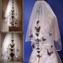 wedding photo - Wedding Veil With Black Butterfly Design in White-Bridal Veil,White Veil,Layered Veil,Wedding Veil with comb-White Butterfly Wedding veil.