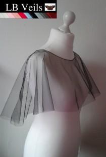 wedding photo - Poncho Veil Black Crystal or Plain Any Colour Wedding Bridal Waist Length Prom Shrug Bolero Cape Shawl Ivory Pink LB Veils LBV185 UK