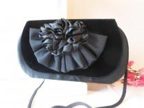wedding photo - Vintage Black Evening Bag, Glamorous Velvet Satin Handbag, EB-0555