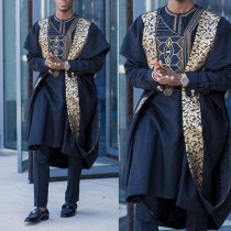 wedding photo - Navy Blue AGBADA, AGBADA for men, African AGBADA, African wedding suit, Groomsmen suit, Groom's suit, African 3 pieces suit, men's clothing