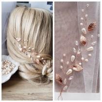 wedding photo - Rose Gold hair vine Rose Gold bridal hairpiece Rose Gold leaf comb Rose Gold wedding jewerly Bridal jewerly Rose gold leaf vine
