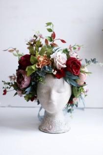 wedding photo - Burgundy Crown flower wedding peony Woodland queen of the forest crown pink elf ivory boho wedding rust