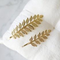 wedding photo - Gold Leaf Bobby Pin, Gold Leaves Hair Pin, Set of 2 Vintage Style Gold Bobby Pin, Bridesmaid Gift, Gold Branch Hair Pin -2092