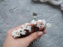 wedding photo - Wedding hair pins White tiny flower headpiece piece