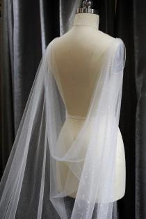 wedding photo - LS102/Sparkle cape/ Drap cape/ Bridal cape/ cathedral cape/ chapel cape/ custom cape