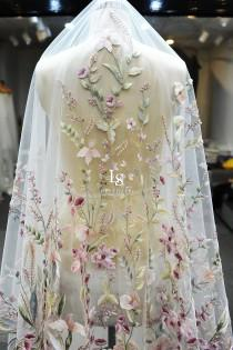 wedding photo - LS54/Embroidery mix-color flower veil/ 1 tier veil/ cathedral veil/ custom veil/bidal veil/ flower veil/ embroidery veil/ floral veil/