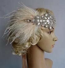 wedding photo - Glamour Rhinestone flapper Gatsby Wedding Crystal Headband Wedding Headpiece, Bridal Headpiece, 1920s Flapper feathers