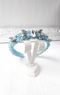 wedding photo - Light blue wedding headband, Baroque Headband, Queen tiara Bridal jewelled crown, Beaded Embellished crystal Hairband Dolce Vita crown