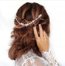 wedding photo - Crystal wire boho hair vine wedding accessory comb DANA Wedding Hair Vine, Gold silver Bridal Headpiece  Wedding Gold Leaf Hairpiece