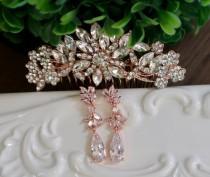 wedding photo - Crystal Bridal hair comb Rose Gold Bridal hair comb Bridal Jewelry Rose Gold Bridal hair accessories Wedding Jewelry Rose Gold Hair comb