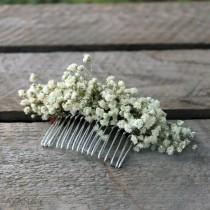 """wedding photo - Flowers comb """"Lucie"""", bohemian hair accessory with durable natural flowers, preserved baby's breath, original hair comb for Boho wedding"""