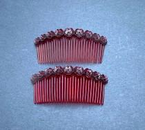 wedding photo - Lovely 1940s Flower Decorated Tortoiseshell Hair Combs - 8cm wide