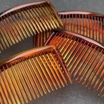 """wedding photo - 4 Vintage Hair Combs 2.5""""/55mm wide Delicate Tortoiseshell Colour"""