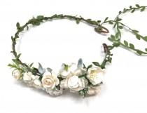 wedding photo - Ivory and white flower crown, wedding flower crown, bridal floral headband, flower headpiece, adult flower crown, flower crown for bride