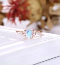 wedding photo - Vintage Moonstone Engagement Ring, art deco wedding ring, oval cut ring, rose gold moissanite ring, diamond bridal ring, anniversary ring