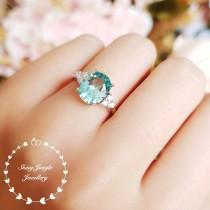 wedding photo - Paraiba tourmaline ring, green tourmaline ring, three stone Paraiba tourmaline ring, white gold plated sterling silver, oval cut teal ring