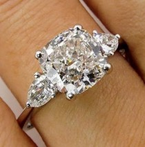 wedding photo - 3 Stone Cushion Cut Engagement Ring- Wedding Ring - Anniversary Ring - Promise Ring Bridal Ring - Diamond Stimulant 925 Sterling Silver Ring