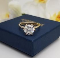 wedding photo - 2ct Solid gold Cathedral setting Moissanite solitaire ring available in 10k, 14k, 18k Rose, yellow or white gold - engagement ring