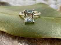 wedding photo - Prasiolite Ring, Green Amethyst Ring, Emerald Cut Prasiolite Ring, 2.00ct Emerald Cut, Prasiolite Solitaire Ring