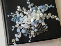 wedding photo - Blue Bridal Hair Comb, Dusty Blue Floral Hair Piece, Wedding Pastel Blue Crystal Hair Comb, Blue Silver Headpiece Wedding Blue Hair Jewelry