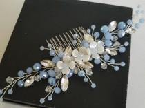 wedding photo - Dusty Blue Bridal Hair Comb, Blue Crystal Headpiece, Wedding Light Blue Hairpiece, Wedding Floral Hair Piece, Dusty Blue Hair Accessories