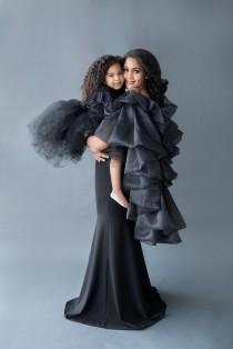 wedding photo - Black Engagement Dress for Photo shoots and Photography Gown with ruffle cape dramatic dress mermaid style - The Patrician Cape Gown