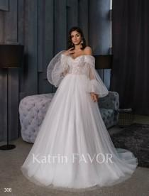 wedding photo - Off The Shoulder Wedding Dress Tulle Wedding Dress Puff Sleeve Wedding Dress Long Sleeve Wedding Dress Fairy Wedding Dress Wedding Gown 2021