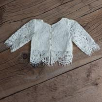 wedding photo - White Lace Flower Girl Top, Two Piece Top Only, Romantic Fringe Lace, Covered Buttons Scalloped Back