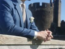wedding photo - Seal Blue Estate Herringbone Tweed 3 Piece Suit