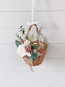 wedding photo - Flower girl basket, Dusty rose flower girl Basket, flower girl basket with flowers, Flower girl crown, Dusty rose Wedding decor