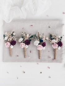 wedding photo - Flower Boutonniere for men, Winter Burgundy Blush Wedding Boutonniere