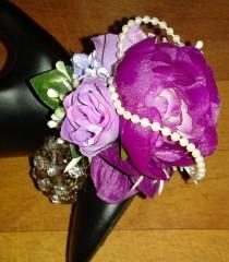 wedding photo - Prom caorsage bracelet, Wedding Wrist Corsage, silk flower corsage, Purple and lilac corsage, graduation