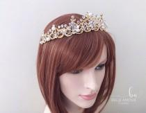 wedding photo - Wedding tiara, Gold baroque crown, Crystal tiara, Hair crown, Wedding crown, Wedding headpiece, Bridal accessories, Bridal headband