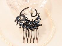 wedding photo - Navy Blue Hair Comb, Bridal Hair Piece, Wedding Comb, Sapphire Hair Comb, Wedding Headpiece, Blue Crystal Hair Comb, Vintage Head Piece