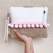 wedding photo - Boho clutch, Clutch, pompom clutch, summer clutch, pink clutch, bridesmaid clutch, bridesmaid gift, tropical clutch, burlap clutch, handbag