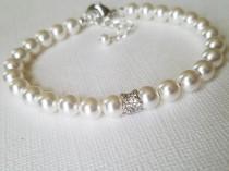 wedding photo - Pearl Bridal Bracelet, Swarovski White Pearl Silver Bracelet, Wedding Pearl Bracelet, One Strand Pearl Bracelet, Bridesmaid Pearl Jewelry