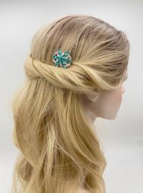 wedding photo - Aquamarine Bridal Hair Piece, Swarovski Wedding Hair Jewelry, Silver Blue Hair Comb, Beach Wedding, Small Headpiece, Blond Hair Accessory