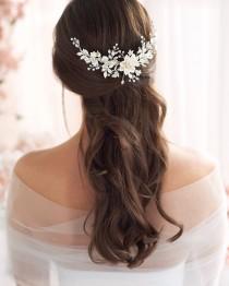 wedding photo - Floral Bridal Back Comb, Rhinestone Bridal Hair Comb, Ivory Flower Hair Comb, Bridal Hair Accessory, Flower Comb, Bridal Hair Comb ~TC-2303