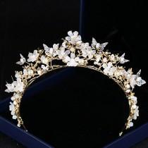 wedding photo - Gold Florist Butterfly Cyrstal Flower Petals  Pearl Tiara Wedding Bridal Prom Party Bridal Shower Tiara Rhinestone Crown