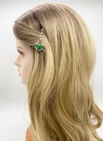 wedding photo - Green Flower Bobby Pin, Floral Hair Jewelry, Wedding Hair Accessories, Art Deco Hair Pin, Crystal Bridal Pins, Wedding Headpiece, Gift Idea