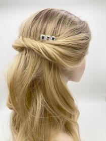 wedding photo - Sapphire Bridal Hair Comb, Art Deco Hair Jewelry, Vintage Wedding Hair Comb, Something Blue for Bride, Back Hair Slide, Navy Blue Hair Comb