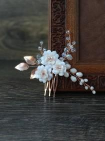 wedding photo - Rose gold bridal hair piece. Rose gold hair comb with blush flowers for brides.